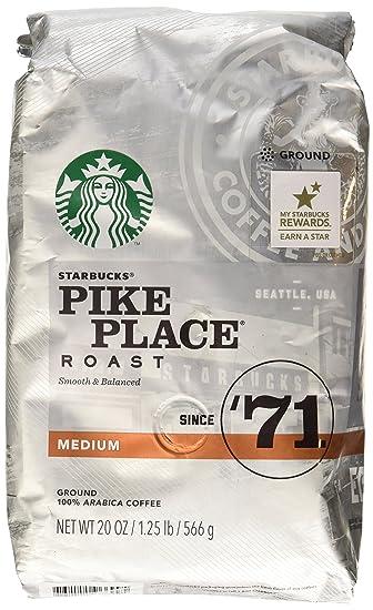 Pikes Peak Coffee >> Amazon Com Starbucks Pike Place Roast Medium Roast Ground 20 Oz