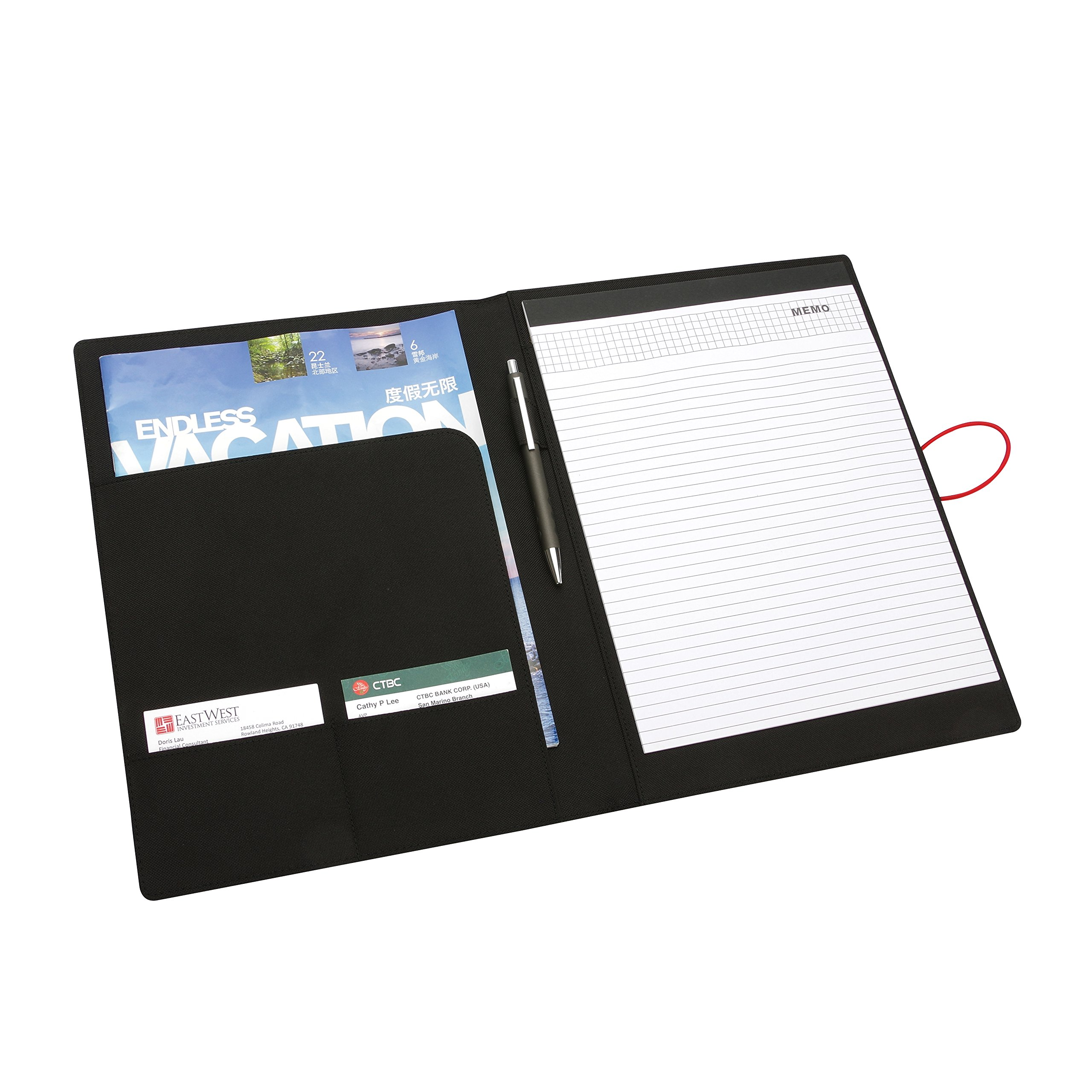 NuVision Executive Briefcase Padfolio, Black Fabric Notepad Portfolio with Elastic Band Closure, Writing Pad & Pen Holder