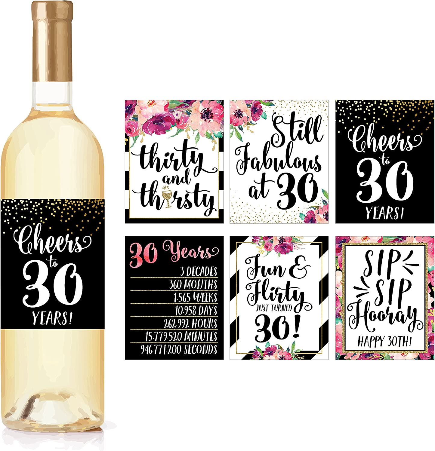 6 30th Birthday Wine Bottle Labels or Stickers Present, 1989 Dirty Thirsty Flirty Thirty Bday Gifts For Women, Cheers to 30 Years, Funny Pink Black Gold Party Decor Supplies For Wife, Girl Mom Friend