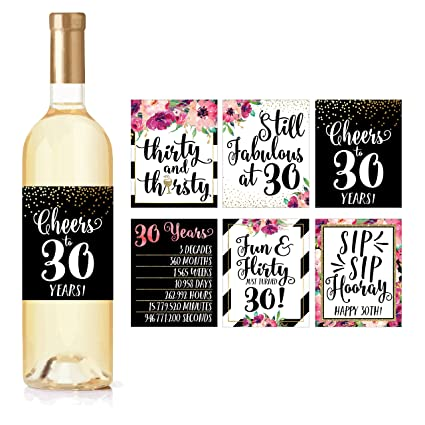 6 30th Birthday Wine Bottle Labels Or Stickers Present Dirty Thirsty Flirty Thirty Bday Gifts For Women Cheers To 30 Years Funny Pink Black Gold Party