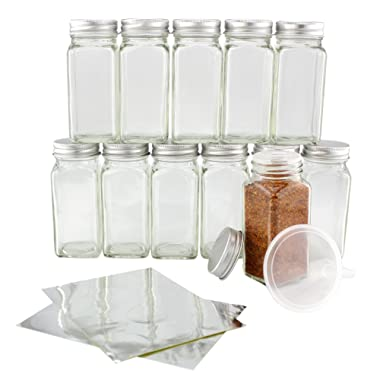 One Dozen 4-Ounce Glass Spice Jars with Shaker/Lift & Pour Inserts & Silver Labels & Silver Metal Lids (12-Pack); Square Bottles Perfect for Any Spice Rack