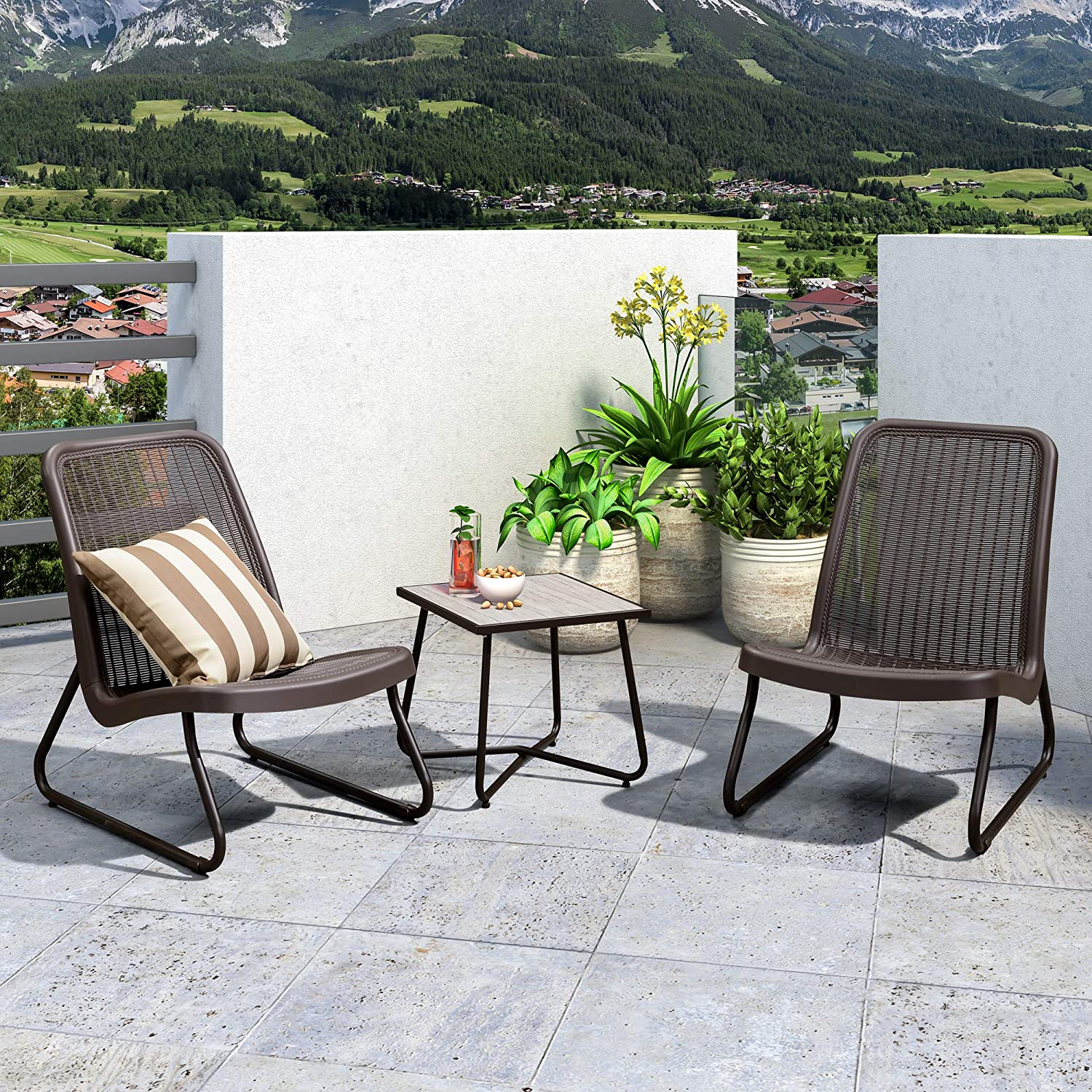 PURPLE LEAF 3 Pieces Patio Bistro Set with Weather Resistant Steel Frame and Square Table Conversation Set, Cushions Included, Coffee: Garden & Outdoor