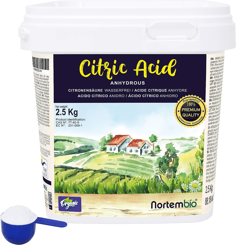 NortemBio Ácido Cítrico 2,5 Kg. Polvo Anhidro, 100% Puro. para ...