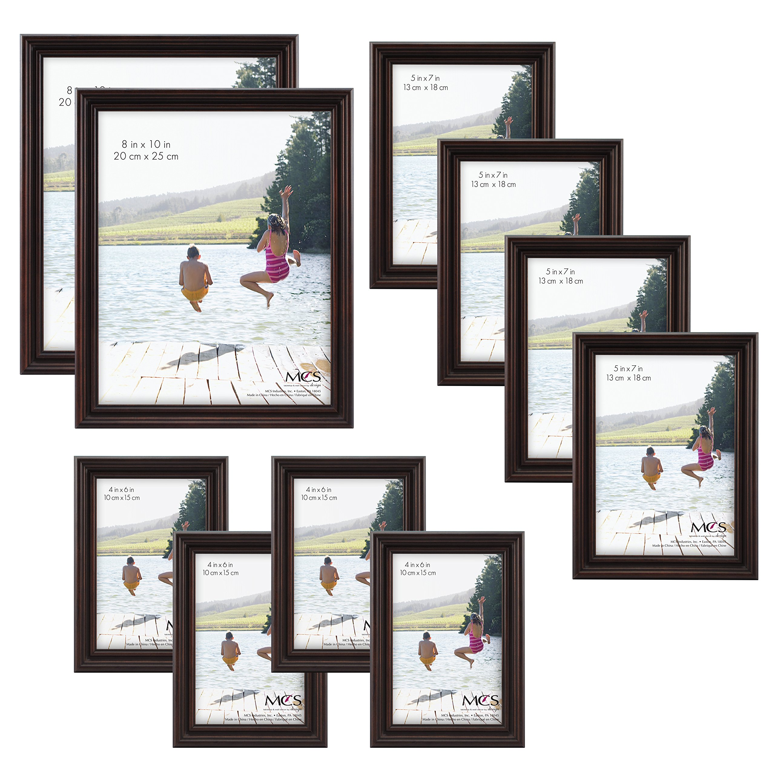 MCS 10pc Multi Pack Picture Frame Value Set - Two 8x10 Inch, Four 5x7 Inch, Four 4x6 In, Mahogany (65705) by MCS