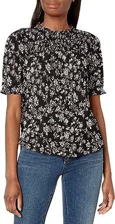 Lucky Brand Women's Puff Sleeve Crew Neck Printed Top