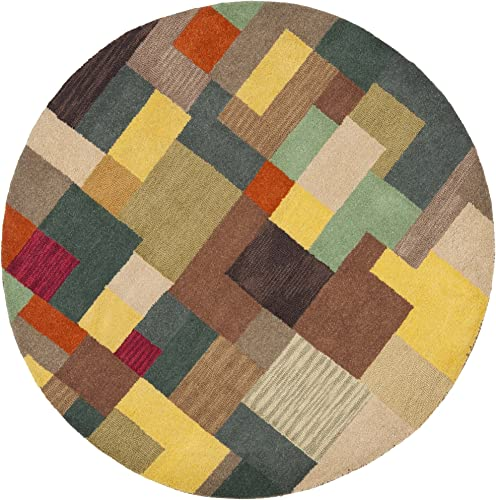 Safavieh Soho Collection SOH923A Handmade Modern Abstract Multicolored Premium Wool Round Area Rug 8' Diameter