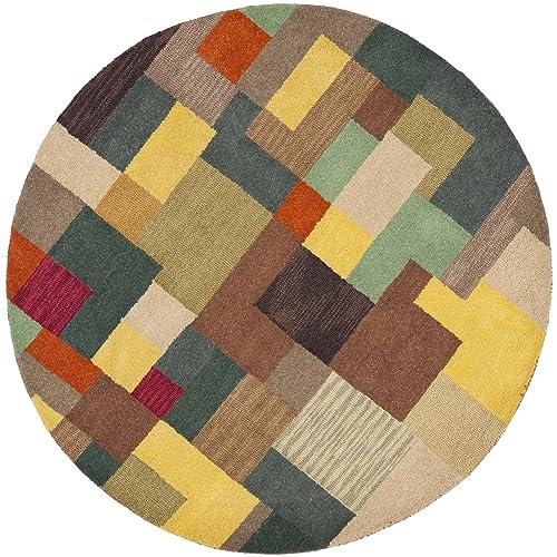 Safavieh Soho Collection SOH923A Handmade Modern Abstract Multicolored Premium Wool Round Area Rug 8 Diameter