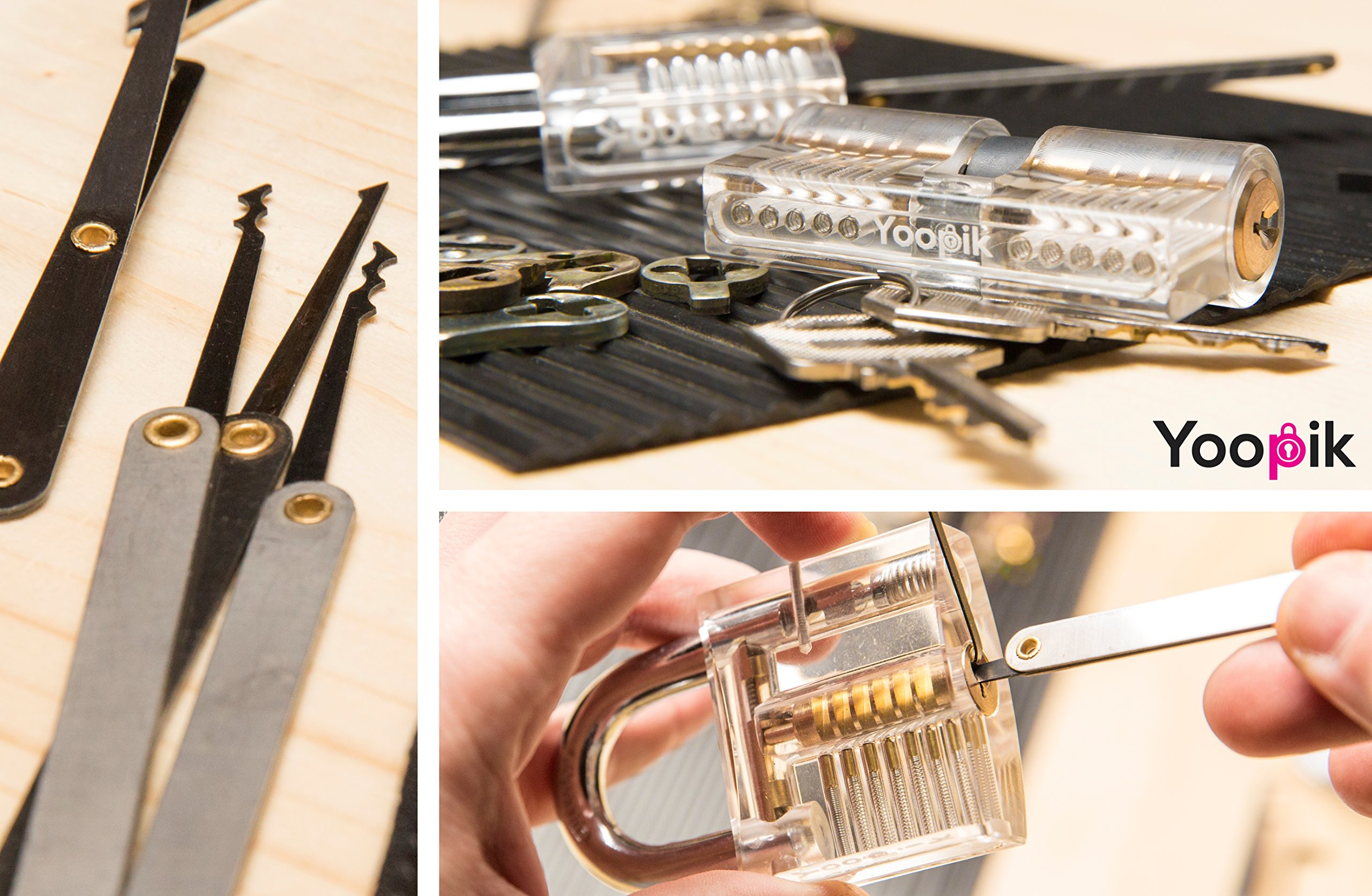 Yoopik Lock Picking Set 15 Pieces with Clear Transparent Padlock and Euro Cylinder for Lockpicking Training and Practice, a Carrying Pouch and Ebook Guide