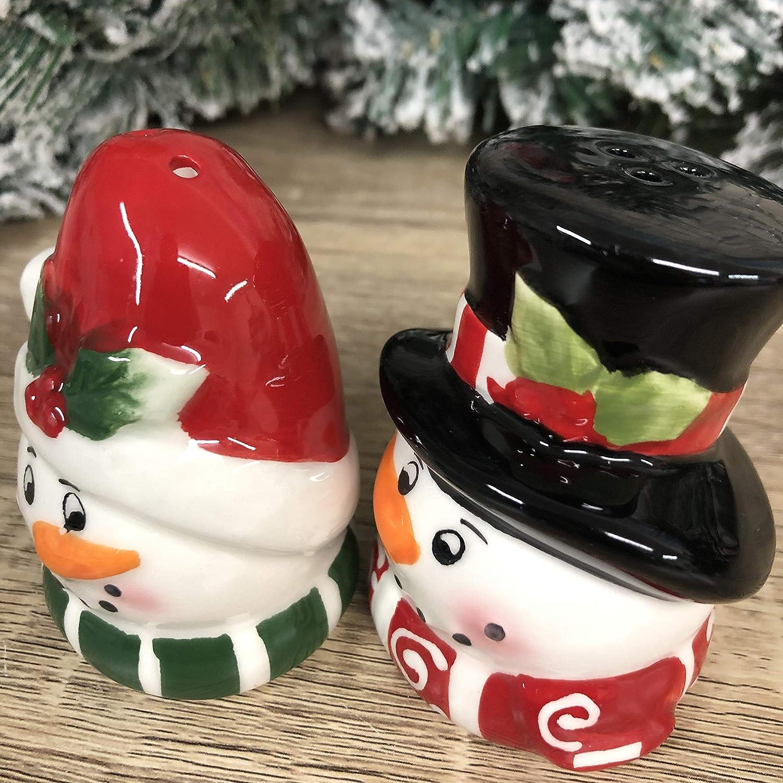 Juego de salero y pimentero navide/ño, dise/ño de mu/ñeco de nieve, 7,5 cm de alto x 6,5 cm de ancho cada uno