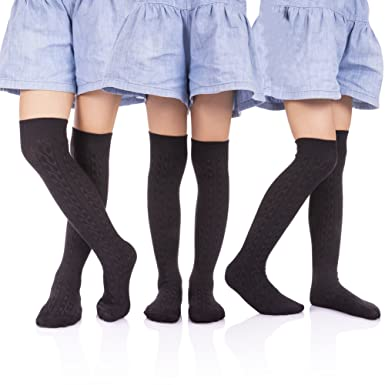 d04950510 HERHILLY School Uniform Classic Cable Cotton Over Knee-high Socks for Big  Girls Solid Colors