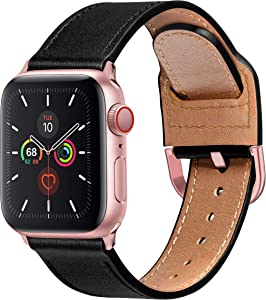 MARGE PLUS Compatible with Apple Watch Band 40mm 38mm 44mm 42mm, Genuine Leather Strap Replacement for iWatch SE Series 6 5 4 3 2 1, (Black/Rose Pink)