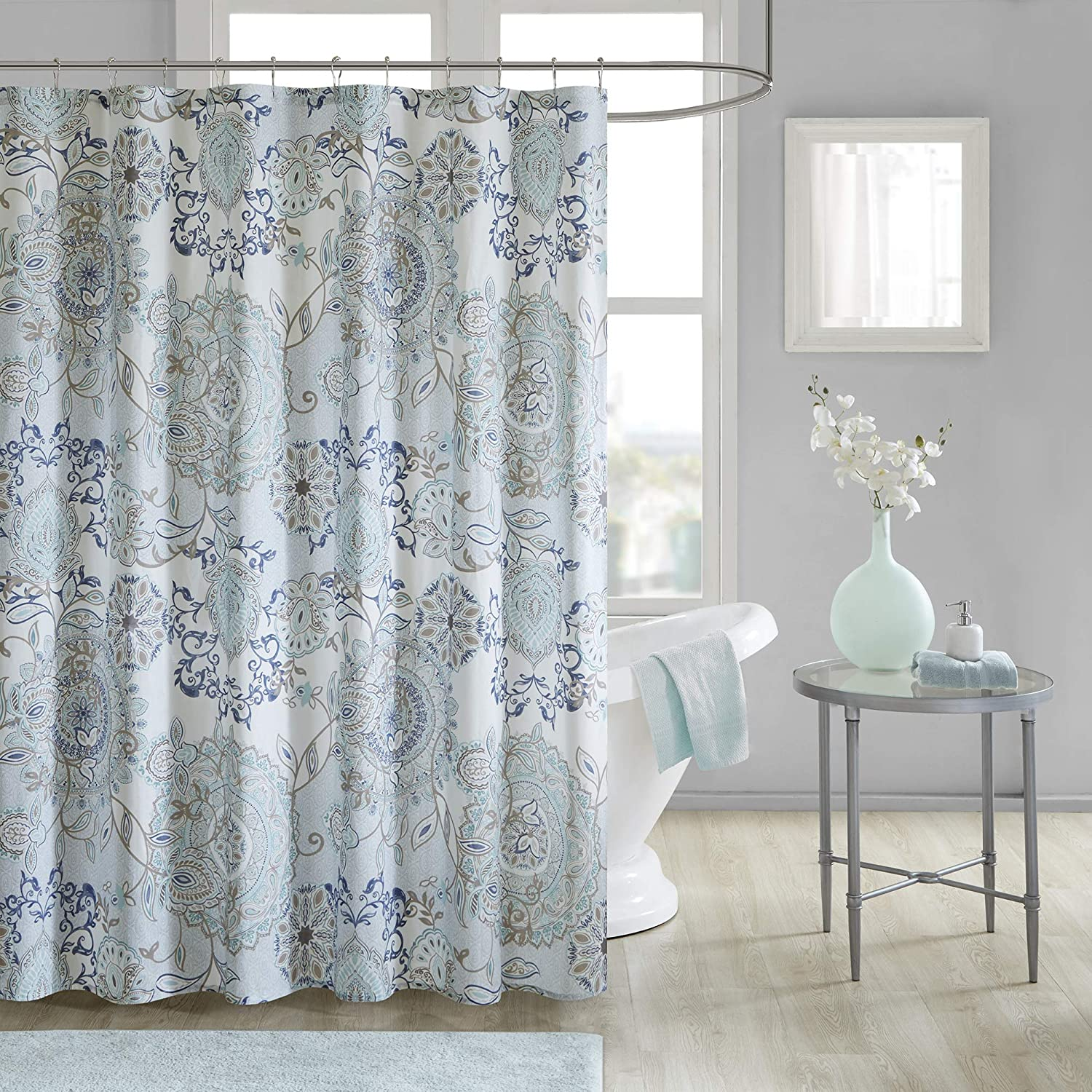 Madison Park Isla 100% Cotton Percale Floral Medallion Boho Printed Watercolor Cute Bathroom Shower Curtain, 72X72 Inches, Blue