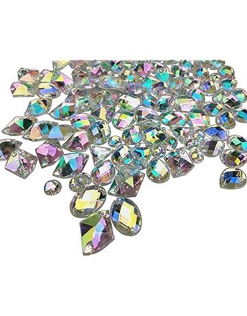3626b4e85531 200PCS Crystal Gems AB Acrylic Flatback Sew On Diamante Rhinestones with  Mixed Shapes for DIY Crafts