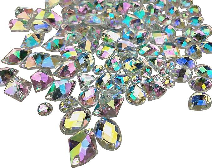 AM/_ 48pcs Iron On Rhinestone Jewels Hair Extension Straightener Diamante Gem BC8