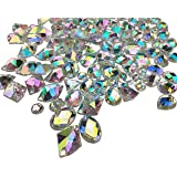 200PCS Crystal Gems AB Acrylic Flatback Sew On Diamante Rhinestones with Mixed Shapes for DIY Crafts Handicrafts Clothes Bag