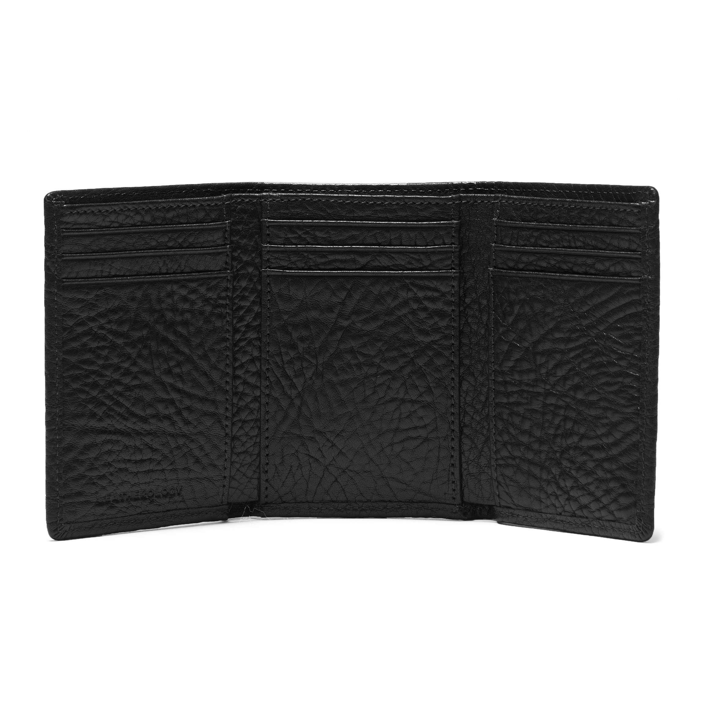 Trifold with Card Wallet - Full Grain Italian Leather Leather - Ebony (black) by Leatherology (Image #3)