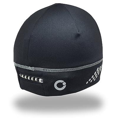 180s bonnet en polaire avec éclairage lED pour le sport, fitness, vélo, cyclisme, le ski, la course-noir