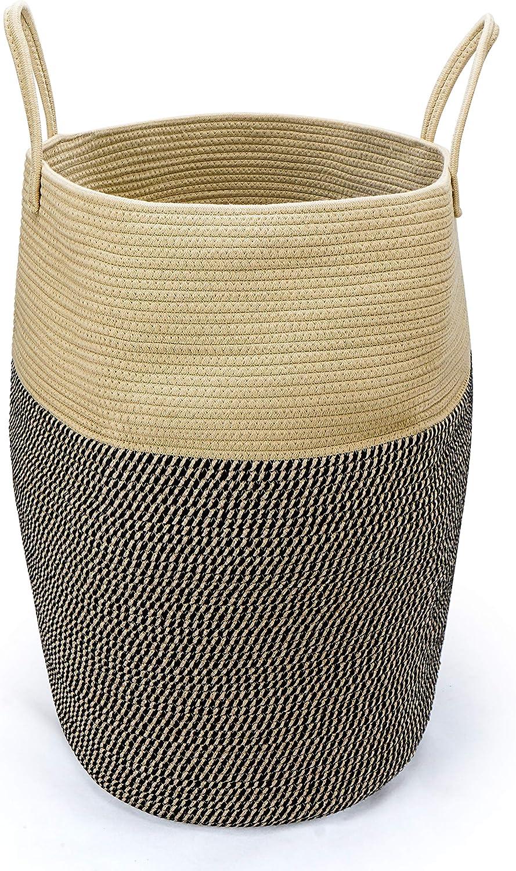 Clothes Hamper for Bedroom/Bathroom, XL Large Boho Laundry Hamper Basket, Brown+Black, Woven, Corner, Rope Cotton