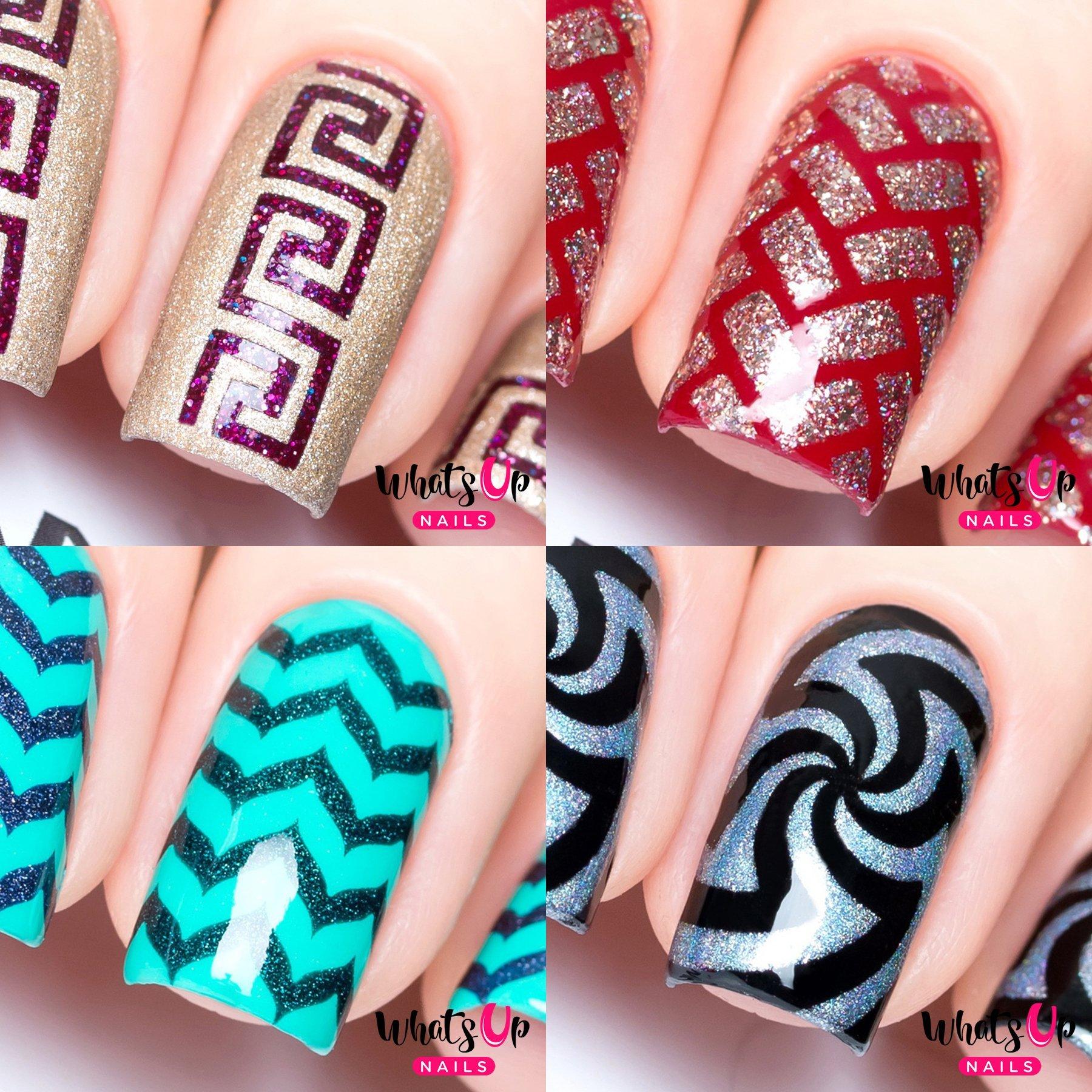 Amazon whats up nails nail vinyl stencils variety pack 4pcs whats up nails nail vinyl stencils variety pack 4pcs greek herringbone marbled solutioingenieria Choice Image