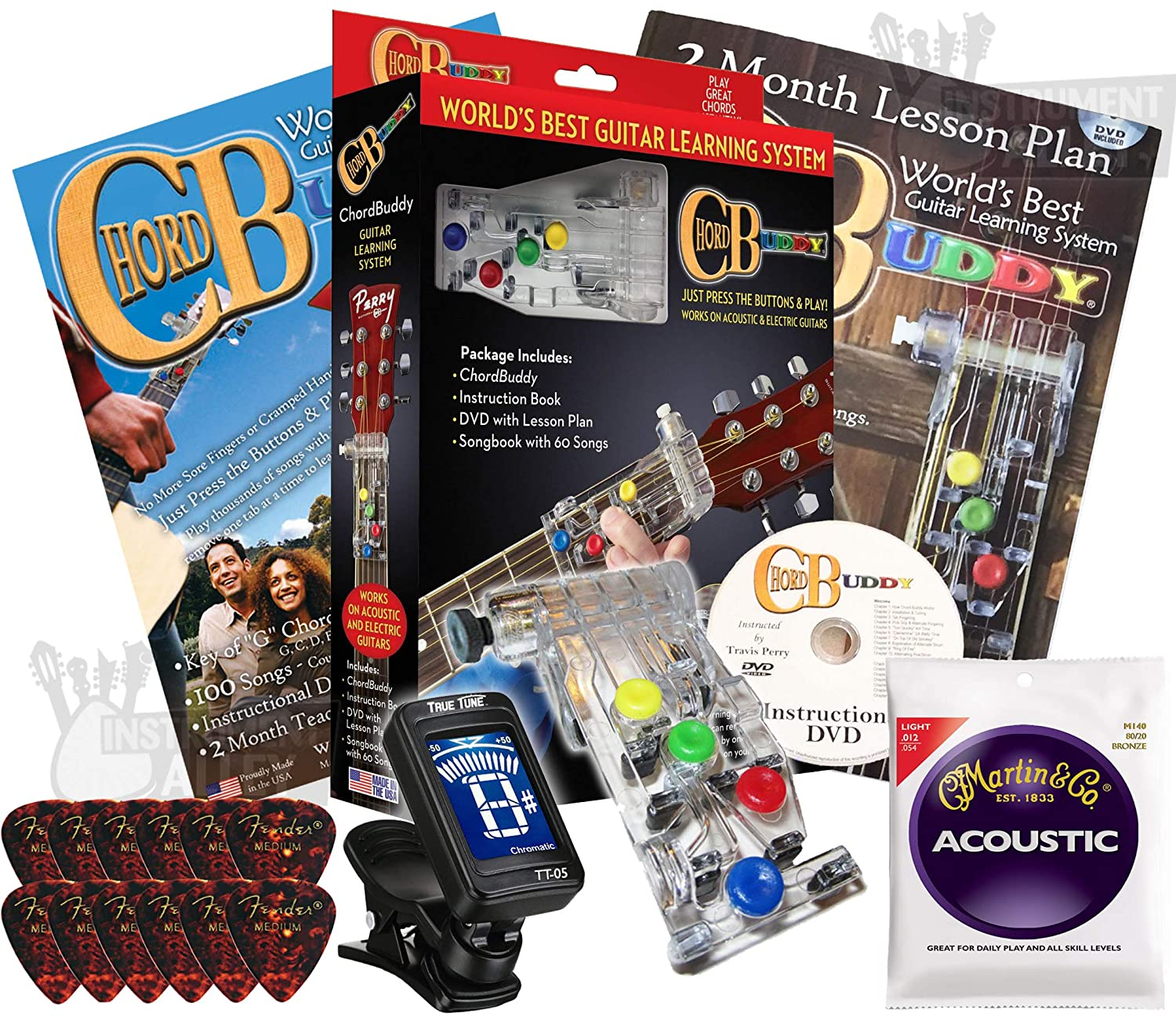 Chord Buddy Guitar Learning Aid Package with True Tune Tuner, Strings & Fender Picks Bundle