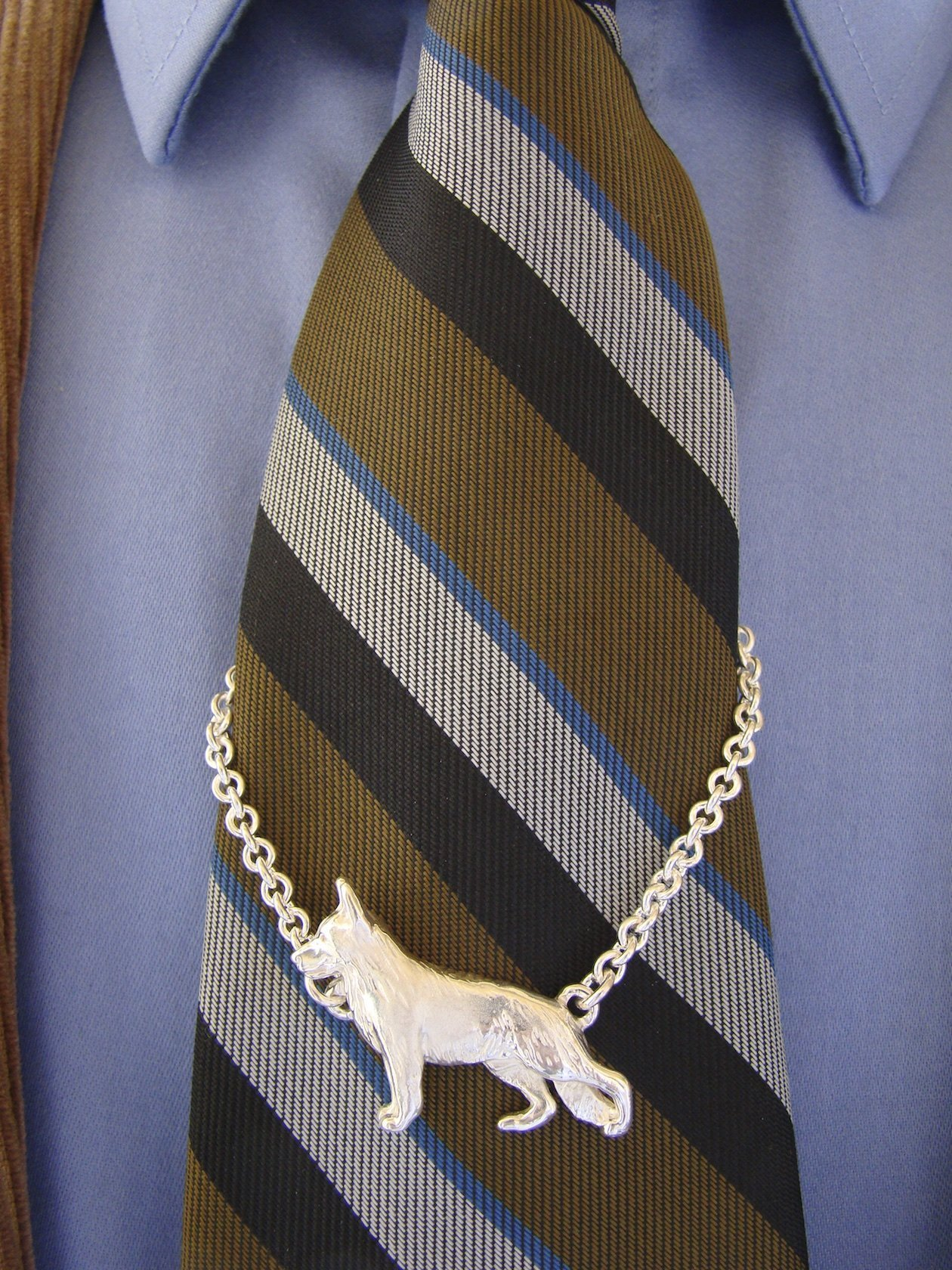 Large Sterling Silver German Shepherd Standing Study Tie Chain by Bestk9buds