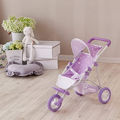 Olivia's Little World - Twinkle Stars Princess Baby Doll Jogging Stroller, fits Dolls up to 18 inches, Purple/White: Toys & Games