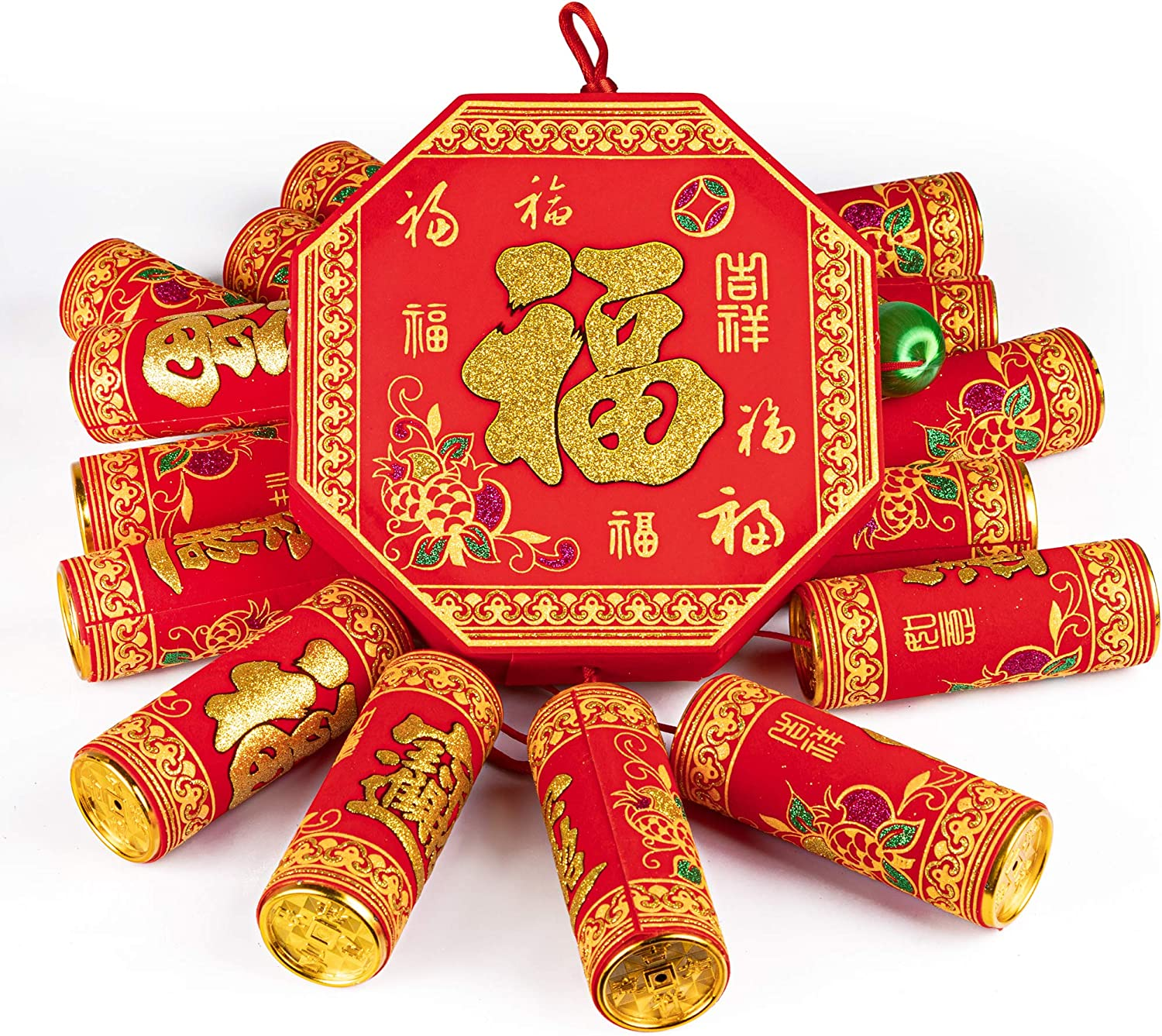 KI Store Chinese New Year Hanging Decorations Large Firecracker Decor Traditional Red Lucky Oriental Pendant Ornaments for Spring Festival Lunar New Year Pack of 1