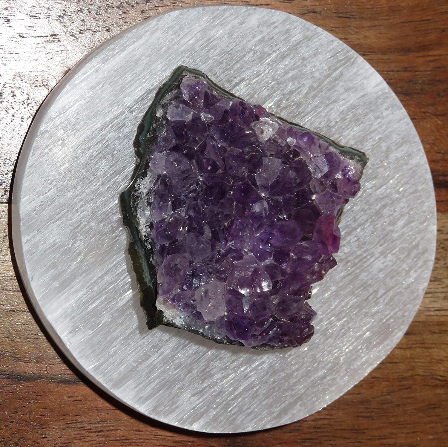 """Reiki Pure Aura Home Protection Selenite Charging Plate 3/"""" And Amethyst Cluster"""