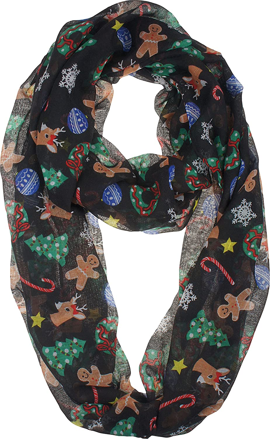 vivian vincent soft light elegant merry christmas sheer infinity scarf c2 at amazon womens clothing store