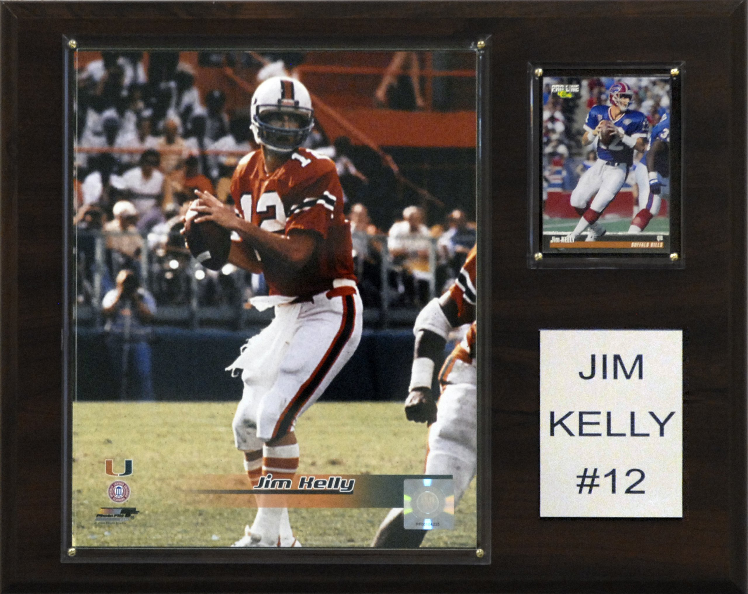 NCAA Football Jim Kelly Miami Hurricanes Player Plaque