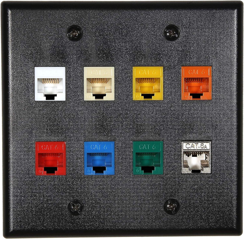 Ivory 6 Port//Hole RJ45//RJ11 Keystone Jack Insert Wall Plate Faceplate 1-Gang