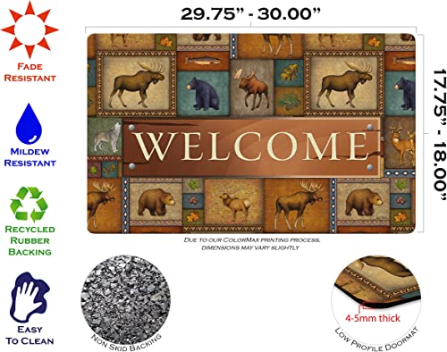 Toland Home Garden Quilted Wilderness Welcome 18 x 30 Inch Decorative Wildlife Floor Mat Bear Deer Doormat
