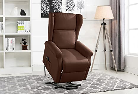 Incredible Power Recliner Chair Lift Chairs Linen Living Room Reclining Armchair Dark Brown Frankydiablos Diy Chair Ideas Frankydiabloscom