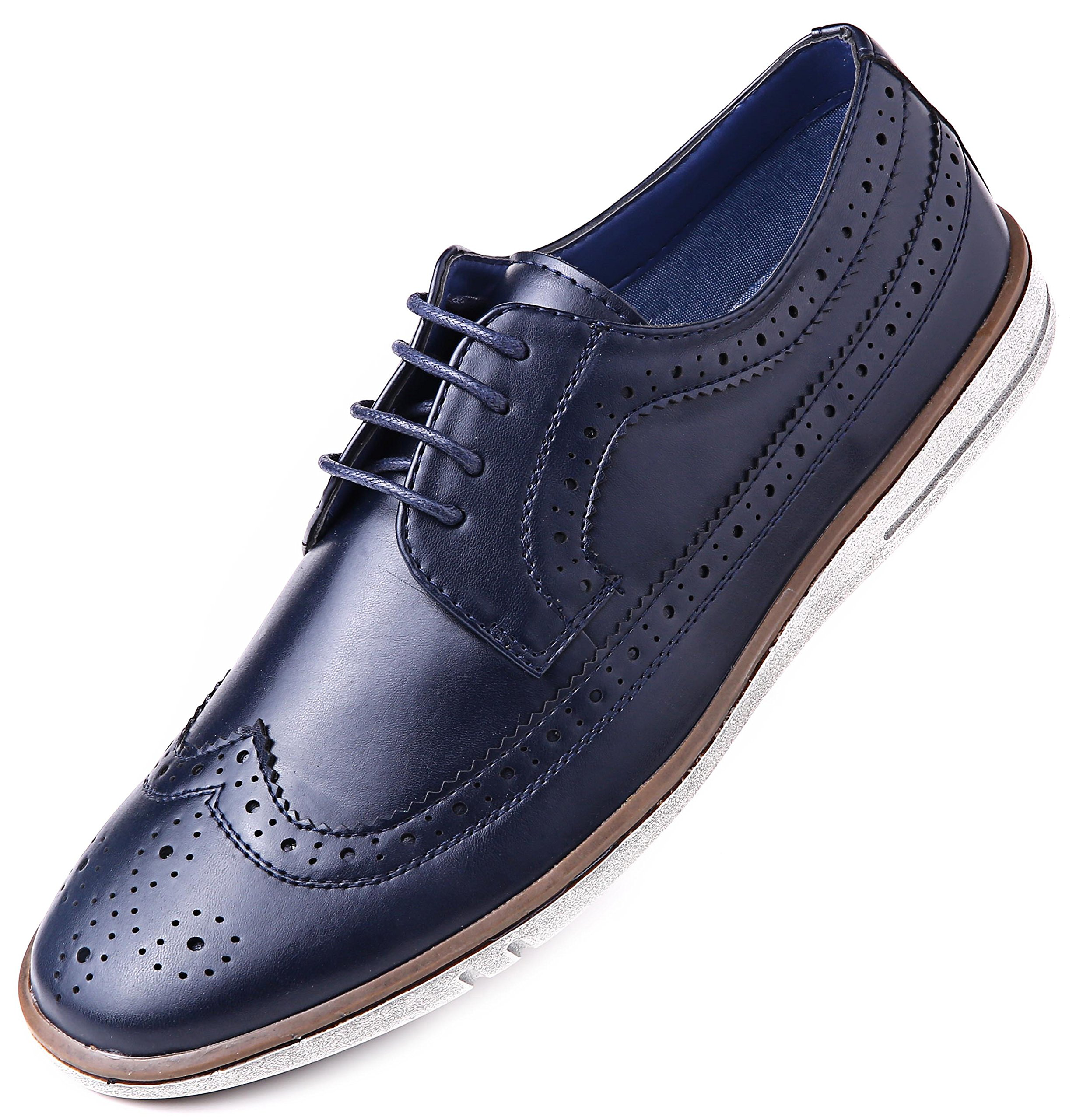 9c264cf657da Mio Marino Mens Dress Shoes - Fashion Casual Oxford Shoes for Men - Round  Toe Dress Claviko - Navy - 9 D(M) US