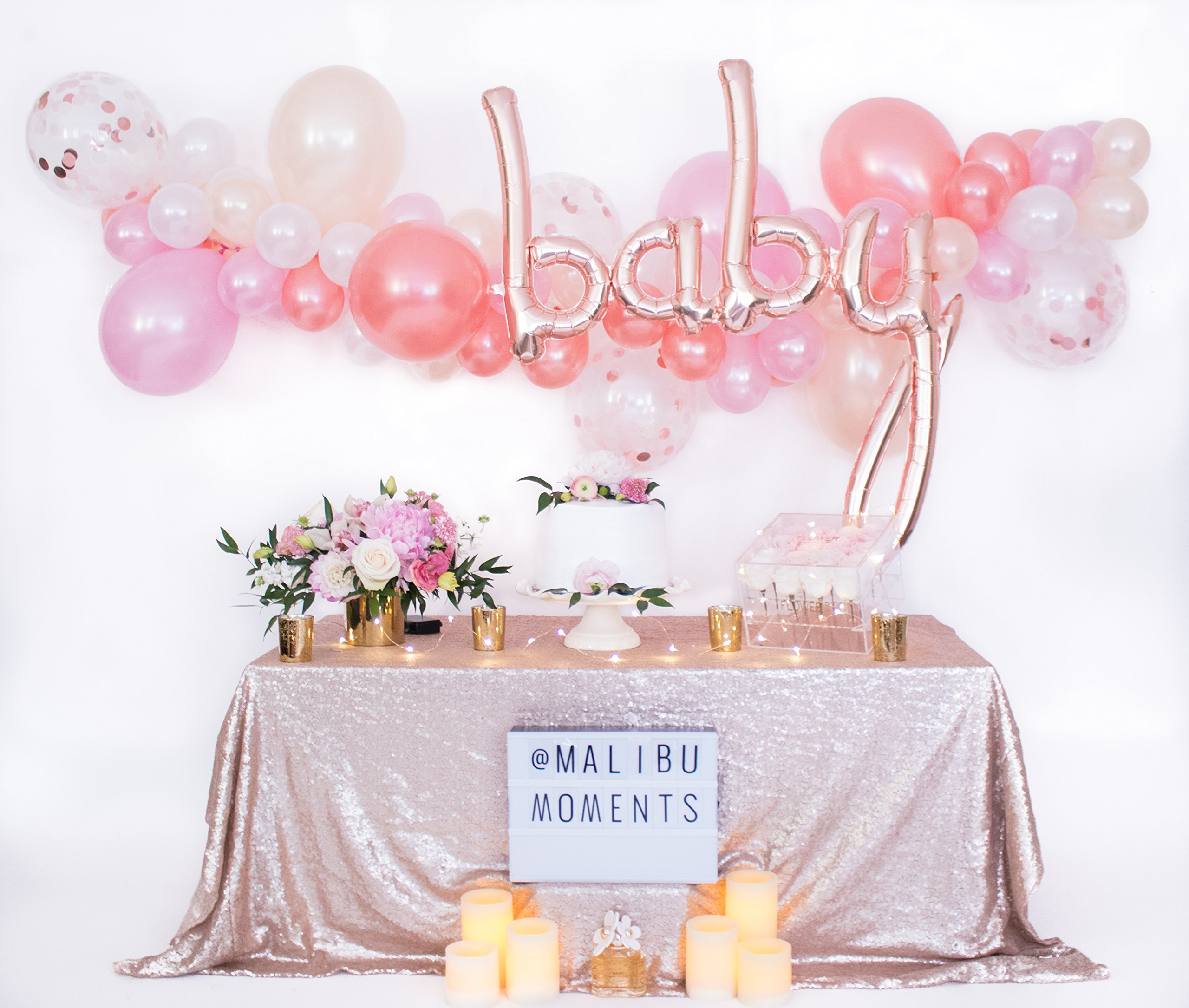 Baby Shower Decorations for Girl   Baby Girl Party Supplies  It's a Girl   Balloon Garland with 72 Balloons 11'' & 5'' Pink, Blush and Confetti with Rose Gold Baby Script Balloon (Pink) by Malibu Moments (Image #2)