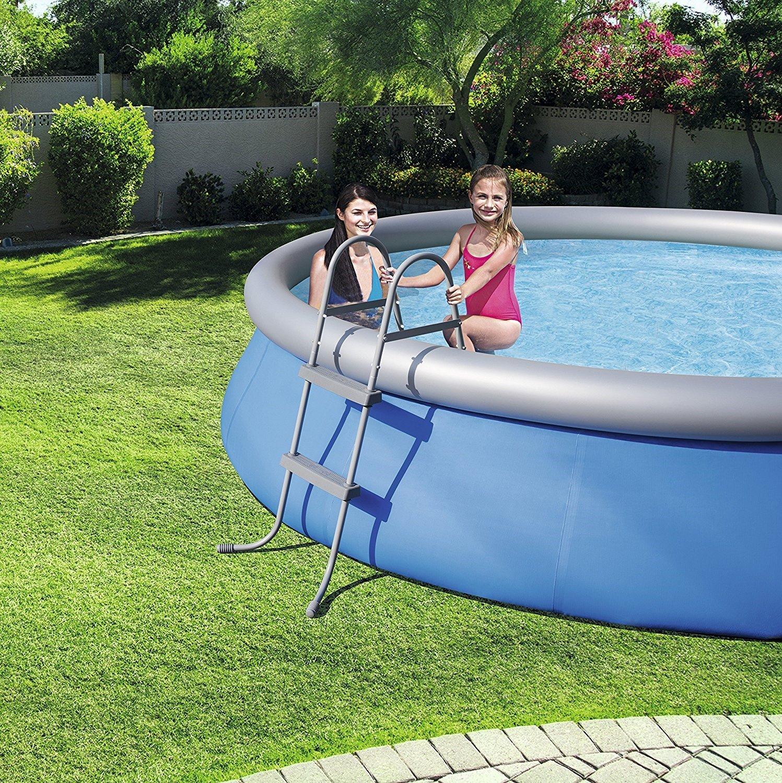 BW VARILANDO Pool-Leiter mit 2 Stufen Garten-Pool-Leiter bis 84 cm H/öhe