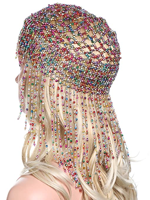 Hippie Hats,  70s Hats BABEYOND 1920s Beaded Cap Headpiece Roaring 20s Beaded Flapper Headpiece Belly Dance Cap Exotic Cleopatra Headpiece for Gatsby Themed Party (Colorful) $14.99 AT vintagedancer.com