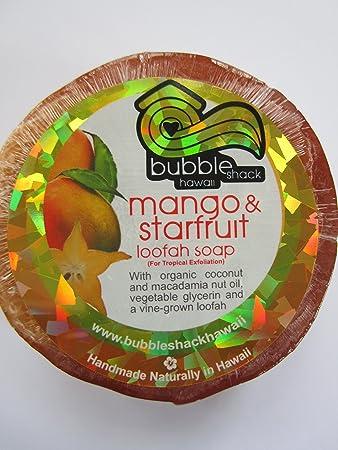 Hawaiian Bubble Shack Loofah Glycerin Soap Mango and Starfruit 4 Bars