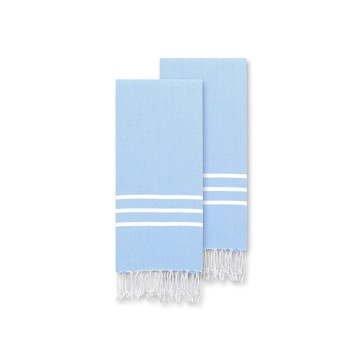 2 Piece Turkish Cotton Hand/Kitchen Sky Blue Towel (Set of 2), Nepkin, Handcrafted, Solid Color, Stripe Pattern, Eco-Friendly Design, Lightweight, Quick Dry, Versatile, Beautifully Finished