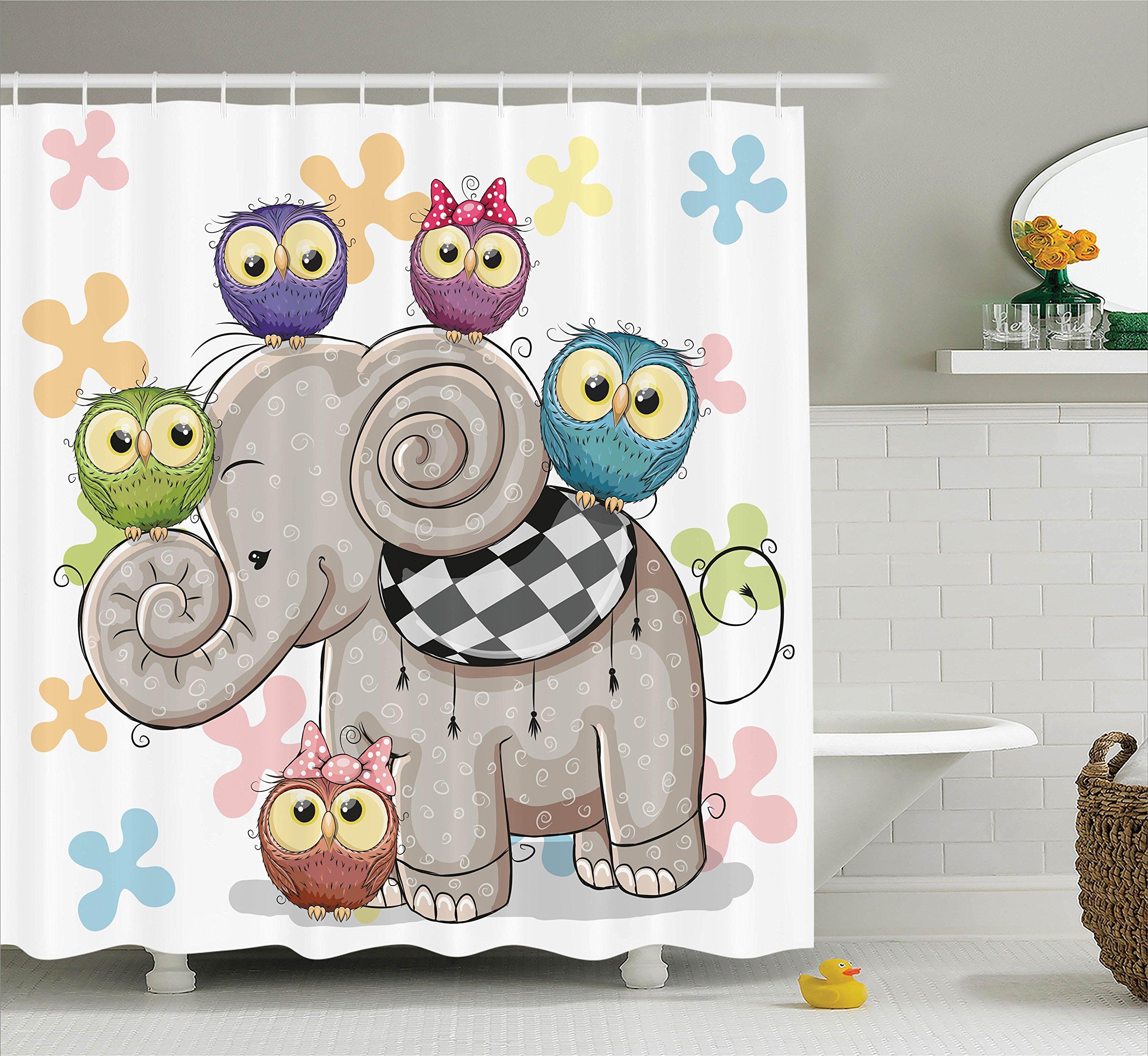Ambesonne Cartoon Decor Shower Curtain Set by, Cute Cartoon Elephant and Owls On A Floral Background Animal Love Big Eyes Boys Girls Decor, Bathroom Accessories, 75 Inches Long, Multi