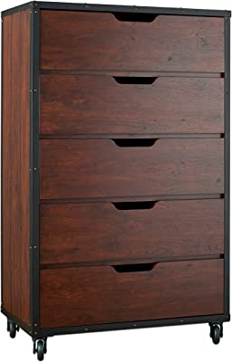 ioHOMES Gunther Industrial 5-Drawer Chest, Vintage Walnut