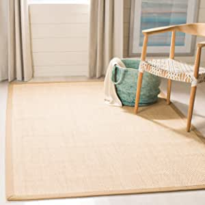 Safavieh Natural Fiber Collection NF141B Tiger Paw Weave Maize and Linen Sisal Area Rug (10' x 14')