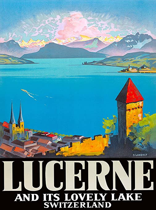 A SLICE IN TIME Lucerne Switzerland Europe European Vintage Travel  Advertisement Art Poster Print  Measures 10 x 13 5 inches