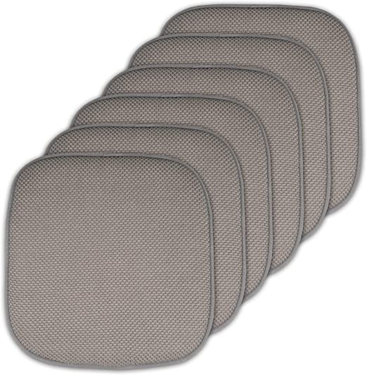 Sweet Home Collection Cushion Memory Foam Chair Pads Honeycomb Nonslip Back Seat Cover 16 x 16 6 Pack Black