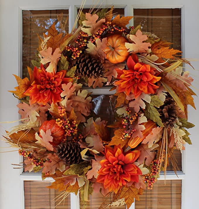 The Wreath Depot Oakwood Silk Fall Door Wreath 22 Inches Beautiful White Gift Box Included Kitchen Dining Amazon Com