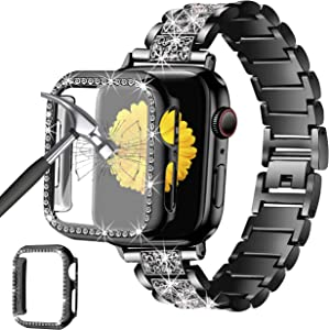 Mesime Compatible for Apple Watch Band 38mm 40mm 42mm 44mm with Screen Protector Case, Jewelry Replacement Metal Band & 2-Pack Bling Full Cover Protective Case for iWatch Series 6/5/4/3/2/1(Black)