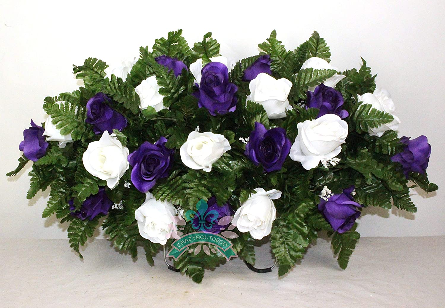Beautiful XL Purple And White Roses Cemetery Saddle Flower Arrangement /…