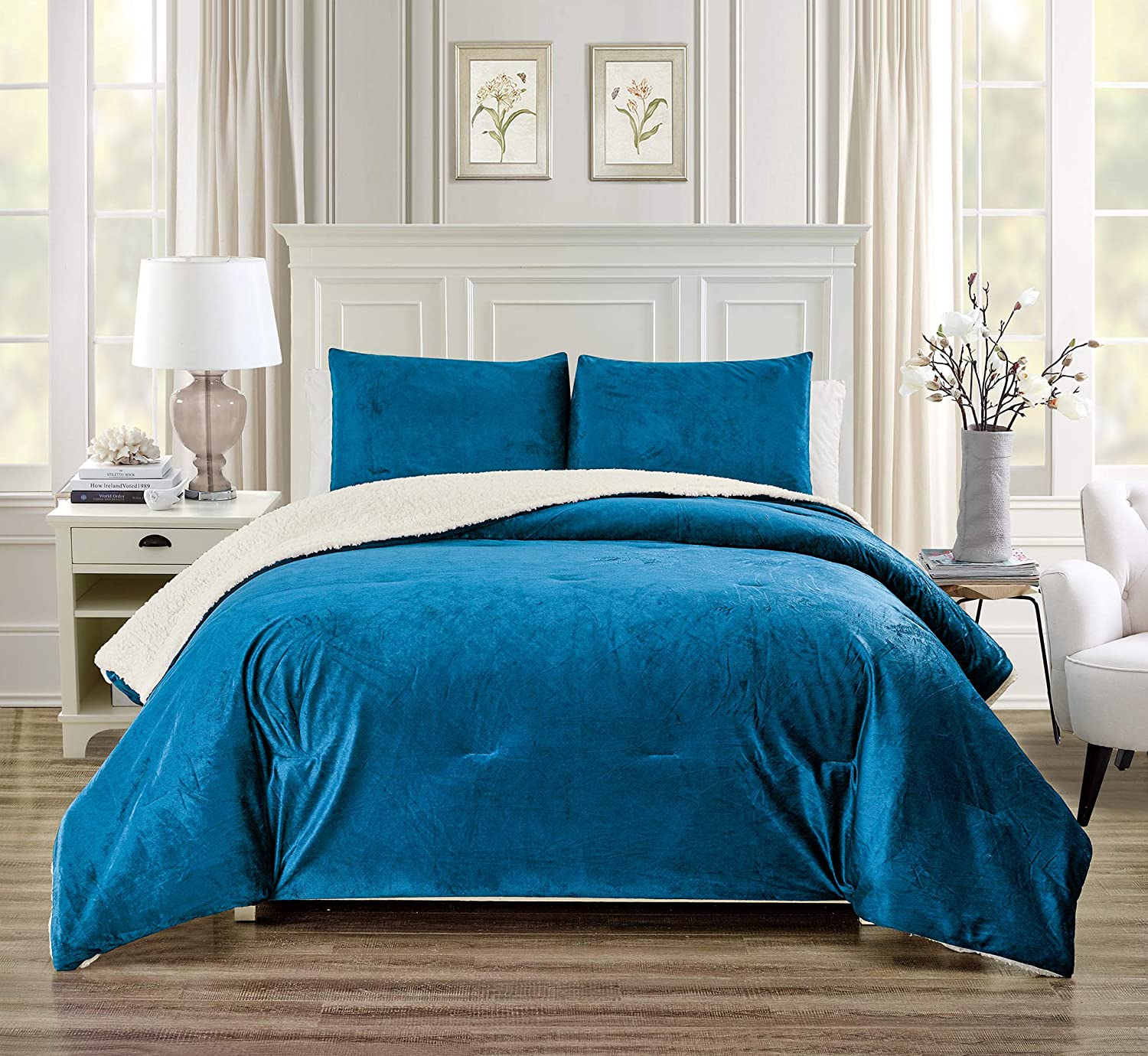 GrandLinen 3 Piece (California) Cal King Size Solid Teal Blue Micromink Velvet Comforter Set with Ultra Soft Sherpa Borrego Backing. Warm Heavy Weight Bedding