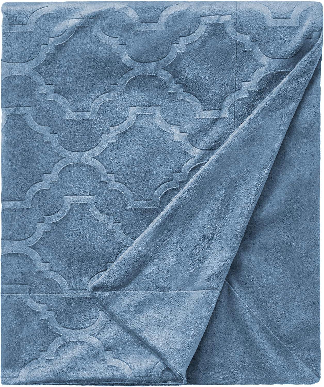 Amazon Brand – Ravenna Home Classic Micro Mink Trellis Throw Blanket, 50