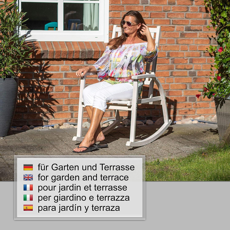 Sedia a Dondolo in Legno Texas Ampel 24 60,5 x 109 x 113 cm//larice//Look shaby Chic Bianco//Grigio